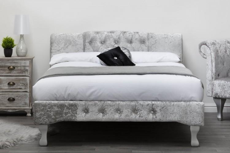 Sleep Design Knightsbridge 4ft6 Double Silver Crushed Velvet Bed Frame By