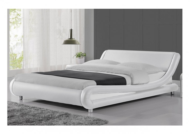 Sleep design madrid 4ft6 double white faux leather bed for Sleeping bed design