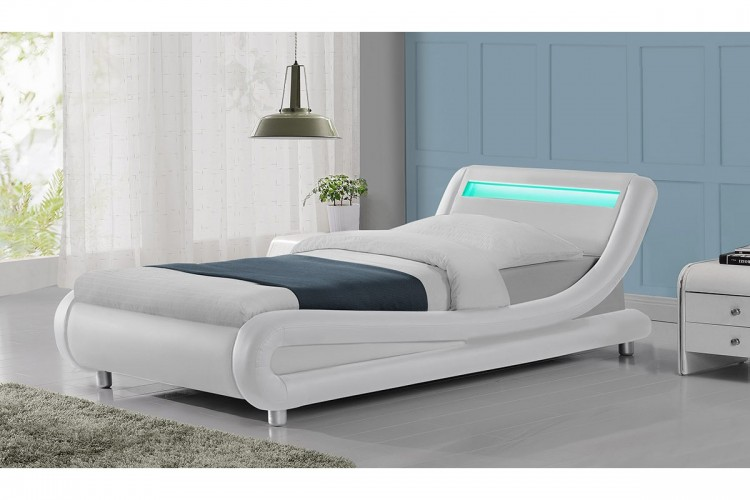 Prime Sleep Design Barcelona 3Ft Single White Faux Leather Bed Caraccident5 Cool Chair Designs And Ideas Caraccident5Info