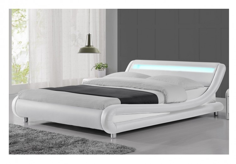 sleep design madrid 4ft6 double white faux leather bed frame with led lights by sleep design. Black Bedroom Furniture Sets. Home Design Ideas