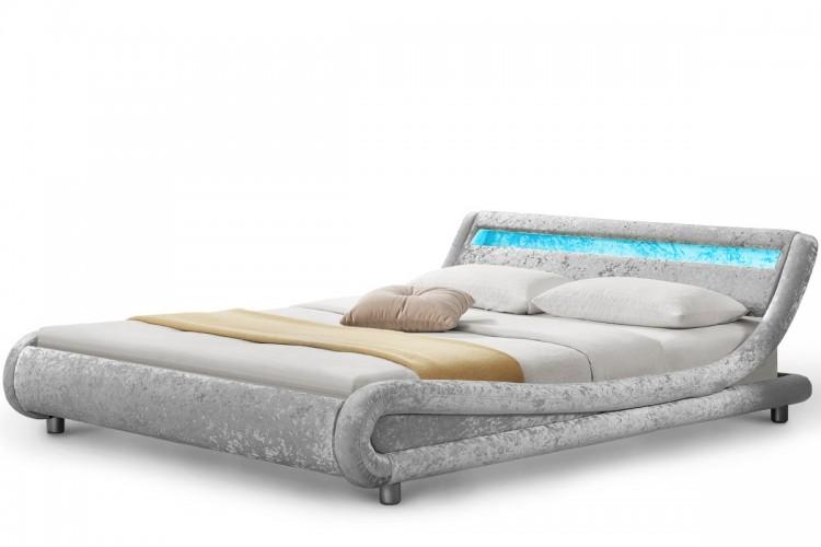 Sleep Design Madrid 3ft Single Silver Crushed Velvet Bed
