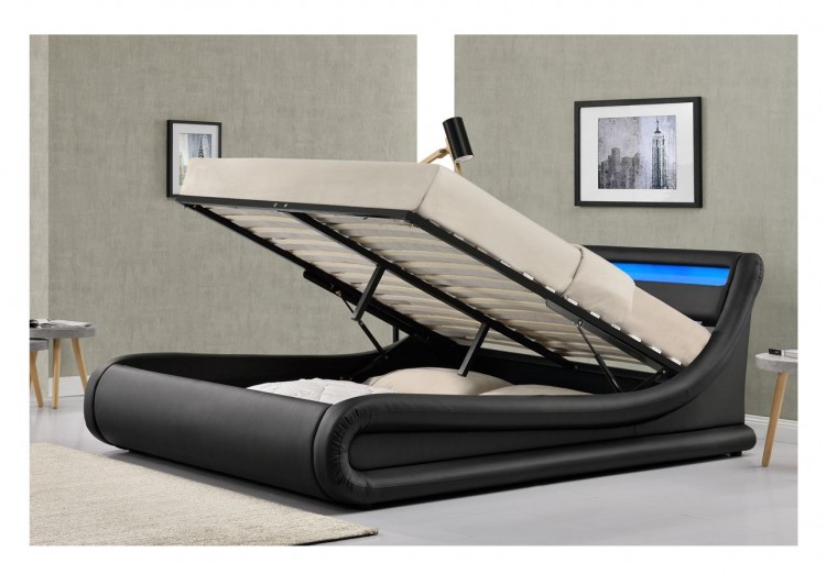 Sleep Design Madrid 4ft6 Double Black Faux Leather Ottoman Bed Frame