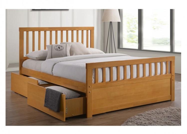 Sleep Design Delamere 5ft Kingsize Honey Oak Wooden Storage Bed