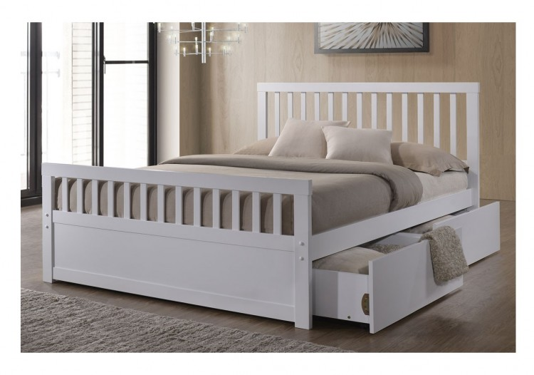 Sleep Design Delamere 4ft6 Double White Wooden Storage Bed Frame By
