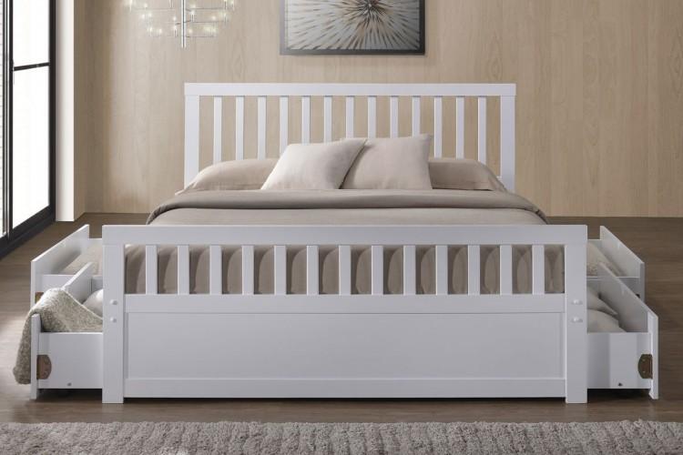 Sleep Design Delamere 5ft Kingsize White Wooden Storage Bed Frame By