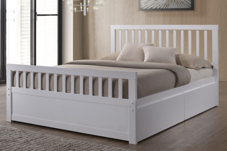 ... White Wooden Storage Bed Frame. Show More Information