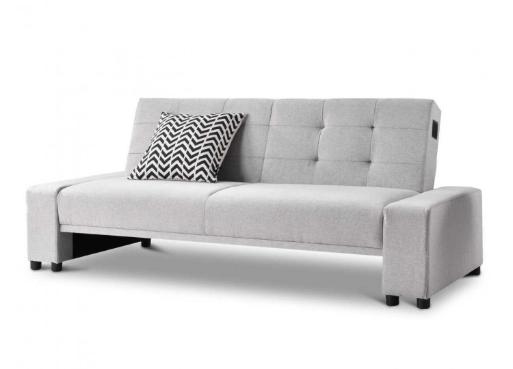 Sleep Design Chicago Grey Fabric Sofa Bed With Bluetooth Speakers By Sleep  Design