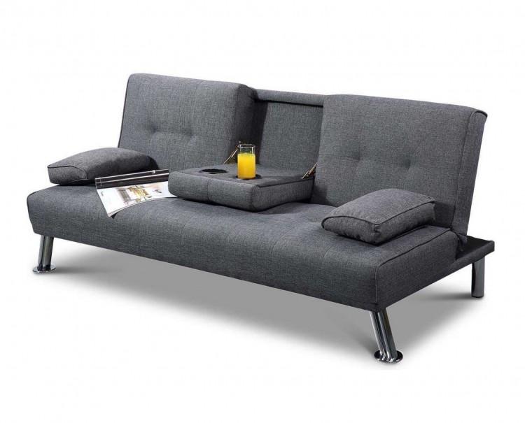 Sleep design new york grey fabric sofa bed by sleep design for Sofa bed york