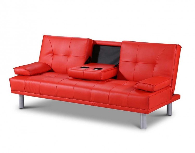 Sleep Design Manhattan Red Faux Leather Sofa Bed by Sleep Design