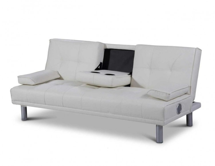 Marvelous Sleep Design Manhattan White Faux Leather Sofa Bed With Bluetooth Speakers  By Sleep Design