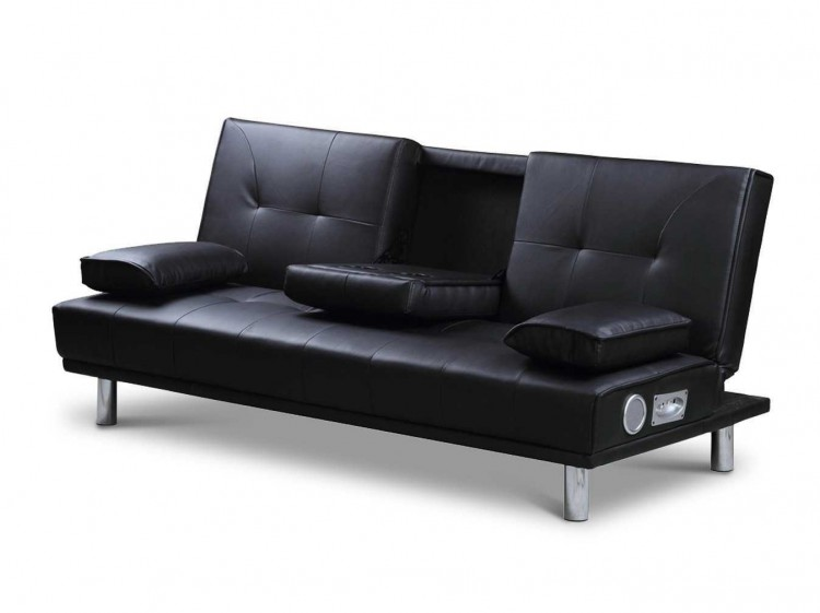 Sleep Design Manhattan Black Faux Leather Sofa Bed With Bluetooth Speakers  By Sleep Design