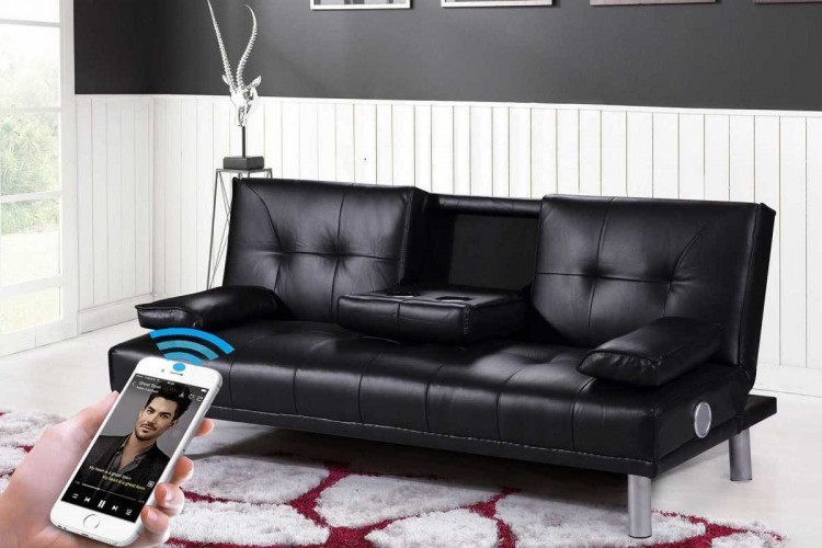 Sleep Design Manhattan Black Faux Leather Sofa Bed With