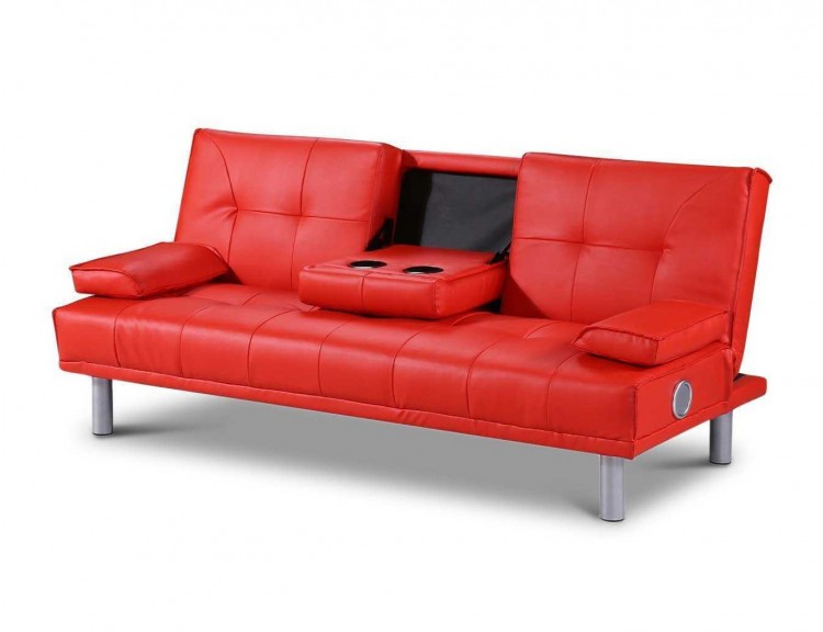 Sleep Design Manhattan Red Faux Leather Sofa Bed With Bluetooth Speakers By