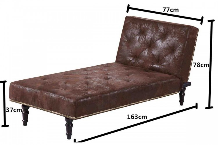 Sleep design charles brown faux suede chaise lounge bed by for Brown chaise sofa bed