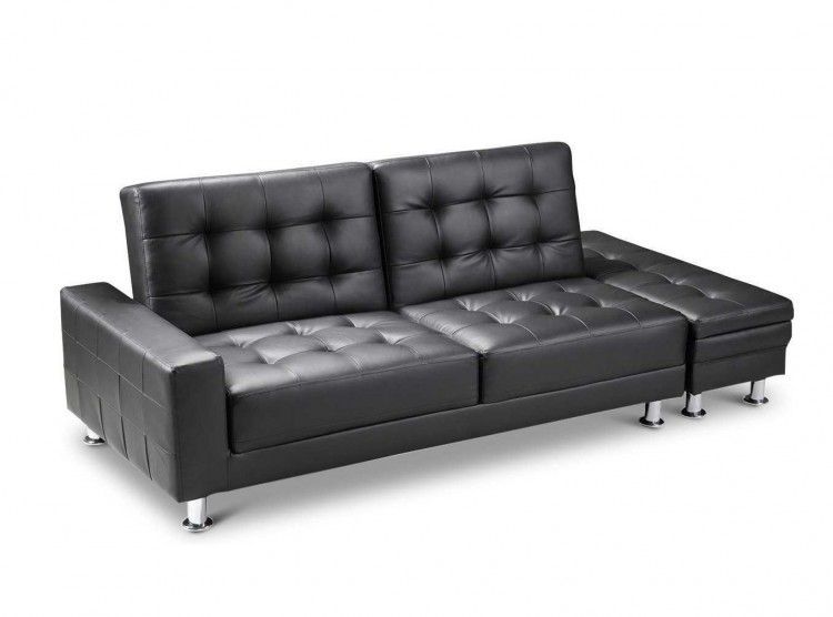 Sleep Design Knightsbridge Black Faux Leather Sofa Bed With ...