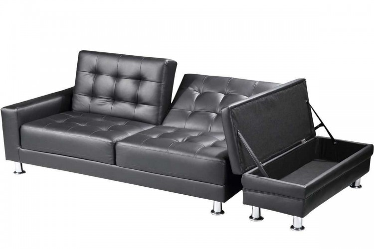 Sleep design knightsbridge black faux leather sofa bed for Sofa bed 3 seater leather