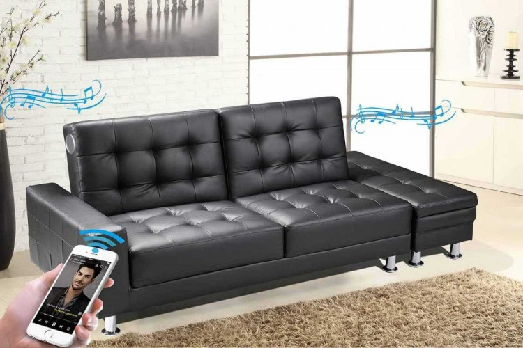 Sleep Design Knightsbridge Black Faux Leather Sofa Bed