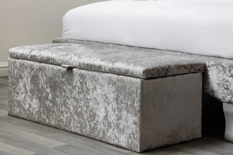 Ottomans Deacon Beige Upholstered Blanket Box: Sleep Design Crushed Silver Velvet Ottoman Blanket Box By