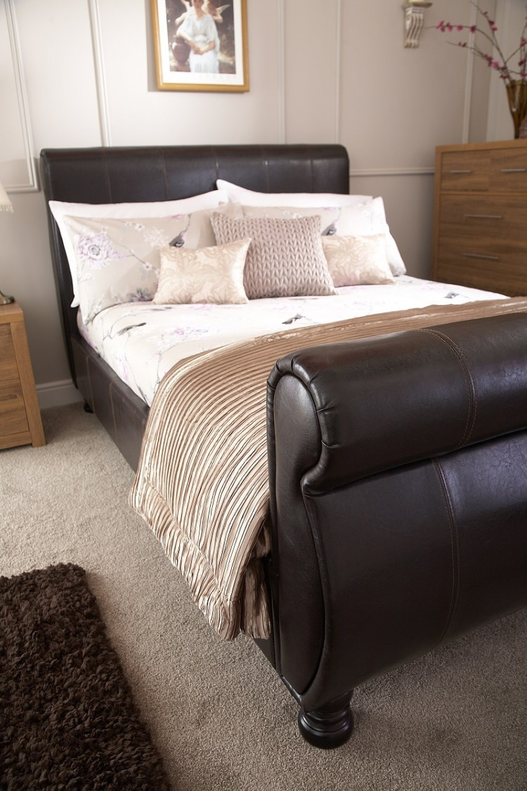 gfw chicago 5ft kingsize brown faux leather bed frame by gfw. Black Bedroom Furniture Sets. Home Design Ideas