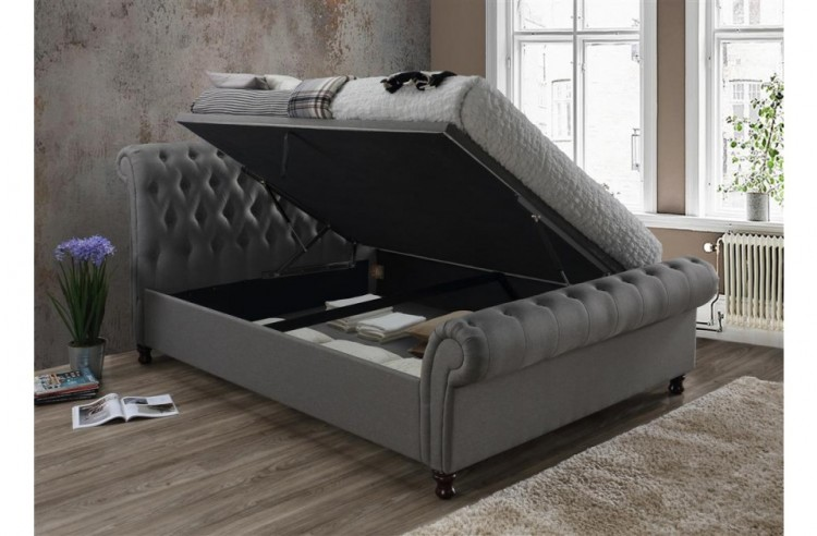 Birlea Castello 4ft6 Double Grey Fabric Ottoman Bed Frame