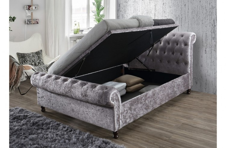 Awesome Birlea Castello 6Ft Super Kingsize Steel Crushed Velvet Inzonedesignstudio Interior Chair Design Inzonedesignstudiocom