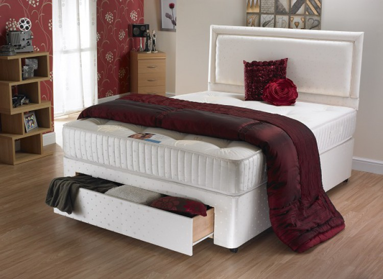 La romantica charlotte 4ft6 double 1000 pocket sprung for Double divan bed with pocket sprung mattress