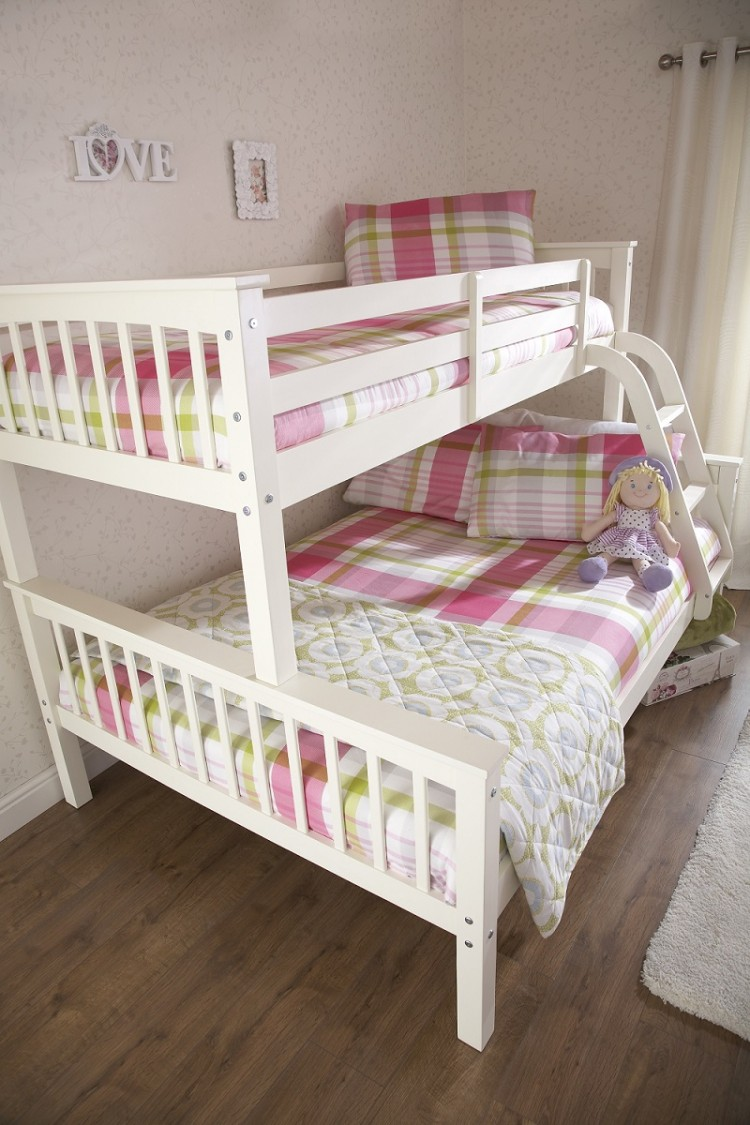 Gfw Novaro White Wooden Trio Triple Sleeper Bunk Bed By Gfw