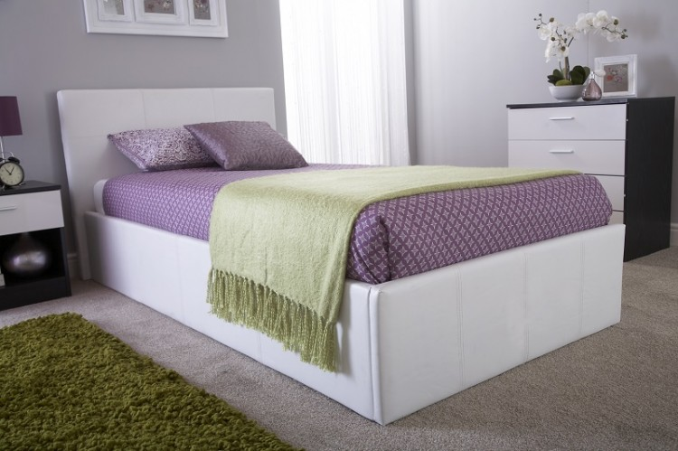 Gfw Side Lift Ottoman 3ft Single White Faux Leather Bed