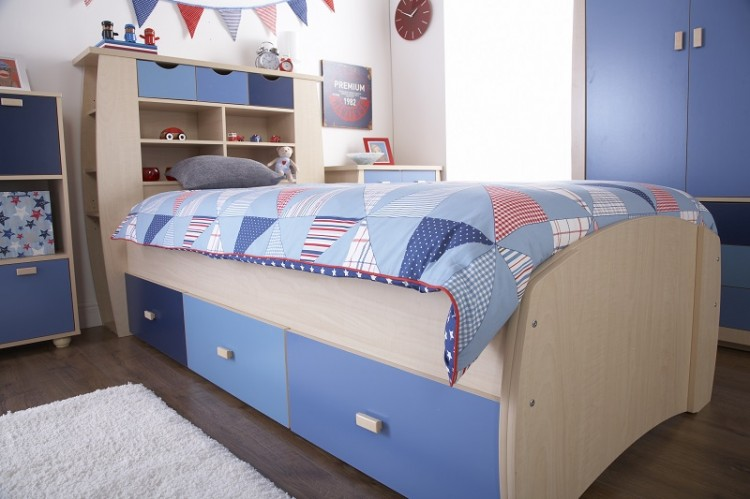 GFW Sydney 3ft Storage Bed Frame with Blue Detailing by GFW