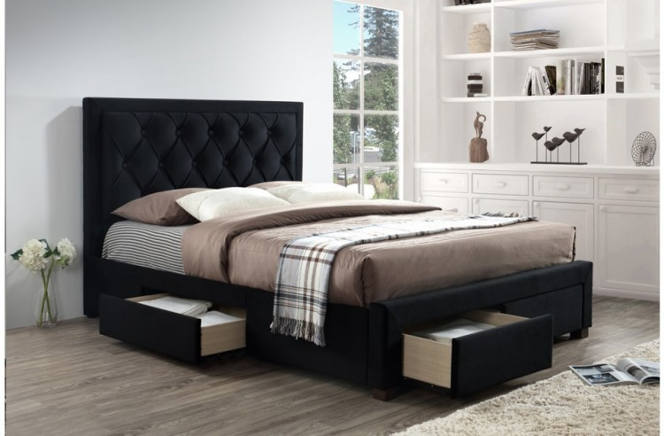 Birlea Woodbury 4ft6 Double Black Velvet Fabric Bed Frame
