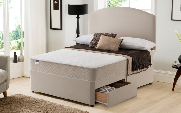Silentnight seoul 4ft6 double miracoil with memory divan for Double divan bed with firm mattress