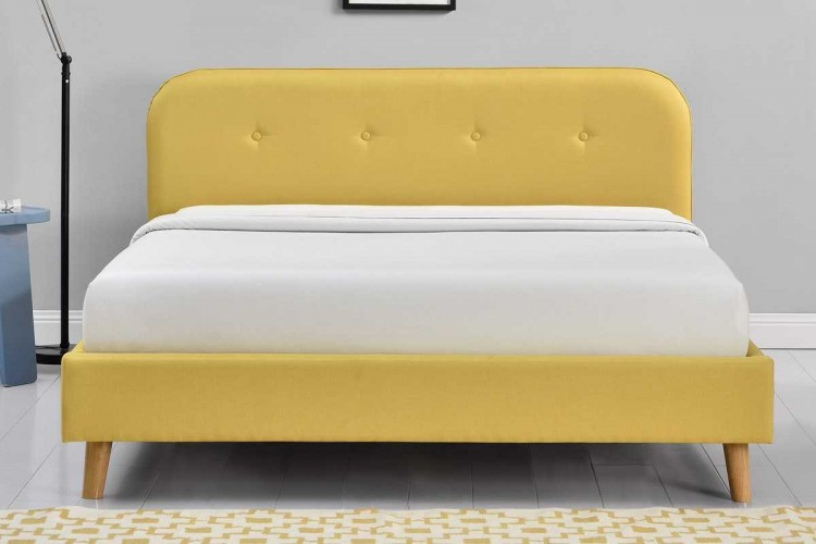 Sleep Design Woburn 5ft Kingsize Yellow Fabric Bed Frame