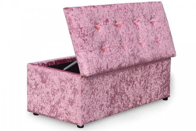 Sleep Design Crushed Pink Velvet Ottoman Blanket Box By