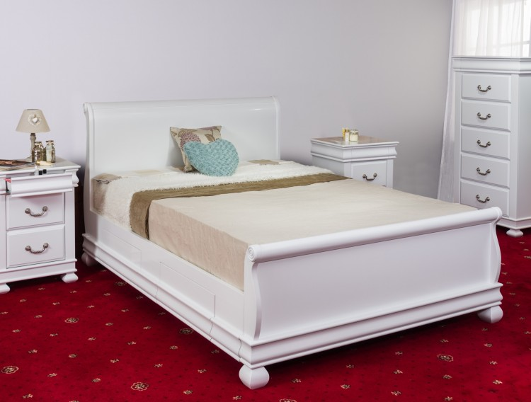sweet dreams storm 6ft super kingsize white wooden sleigh bed frame with drawers by sweet dreams