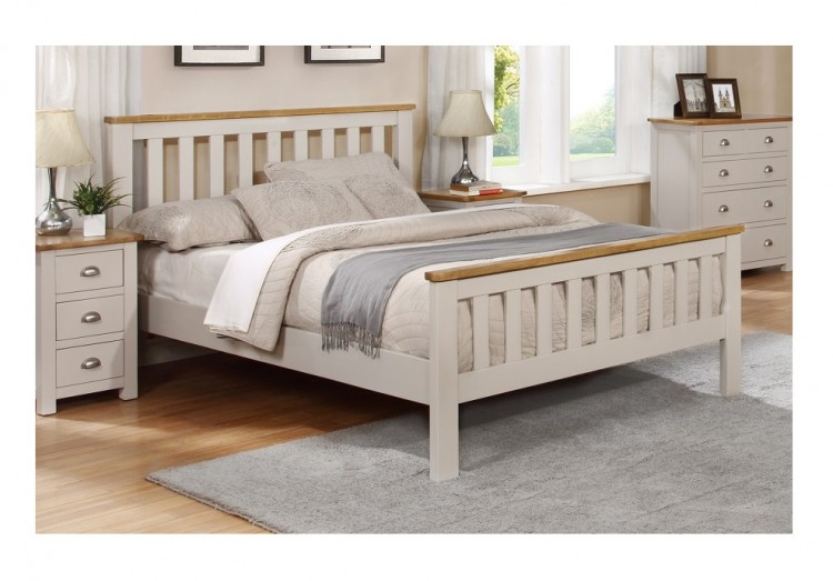 Sweet Dreams Cooper 4ft6 Double Grey And Oak Wooden Bed