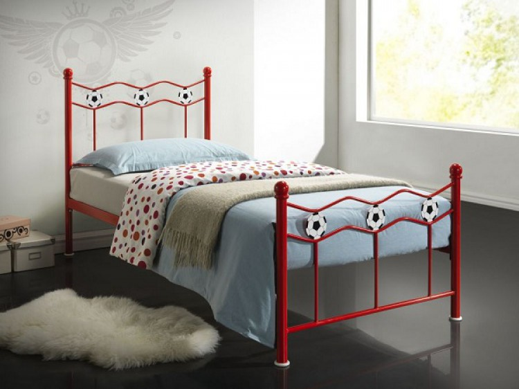 Time Living Chiswick 3ft Single Red Metal Football Bed Frame By Time