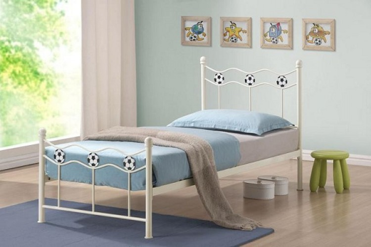 Time Living Chiswick 3ft Single White Metal Football Bed Frame By
