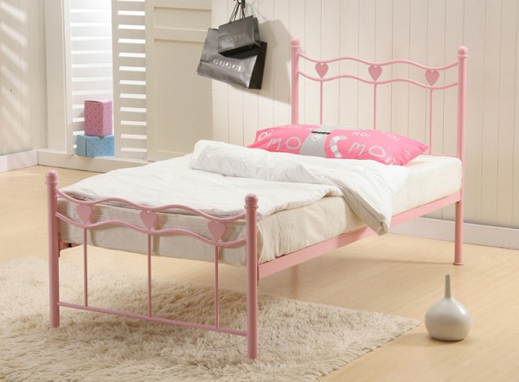 Time Living Madrid 3ft Single Pink Metal Bed Frame by Time ...