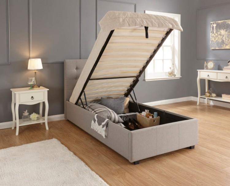 Excellent Gfw Regal 3Ft Single Grey Upholstered Fabric Ottoman Bed Inzonedesignstudio Interior Chair Design Inzonedesignstudiocom