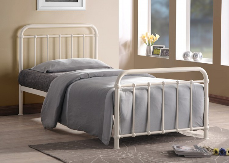 time living miami 3ft single ivory metal bed frame by time. Black Bedroom Furniture Sets. Home Design Ideas