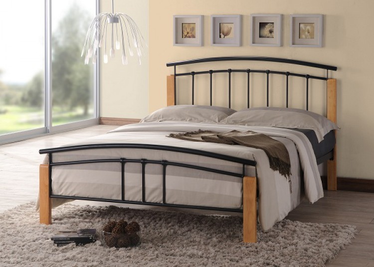 Time Living Tetras 3ft Single Black, Wood And Black Metal Bedroom Furniture
