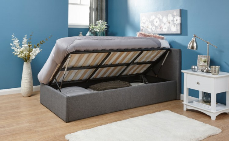 Gfw Side Lift Ottoman 3ft Single Grey Fabric Bed Frame By Gfw