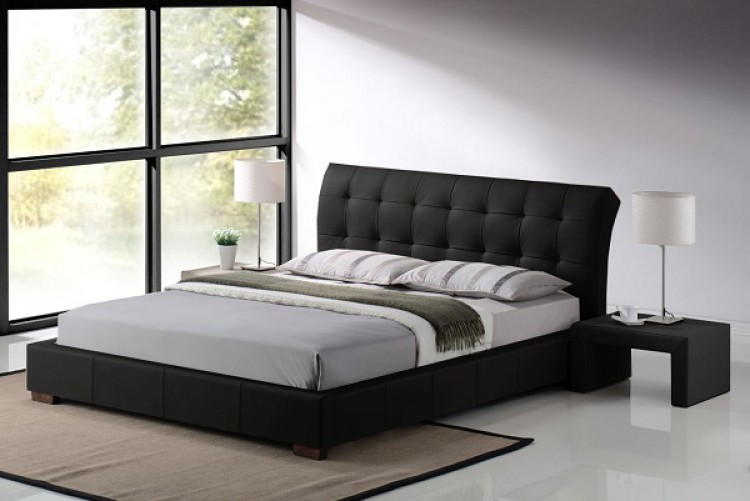 living boston 4ft6 double black faux leather bed frame by time living