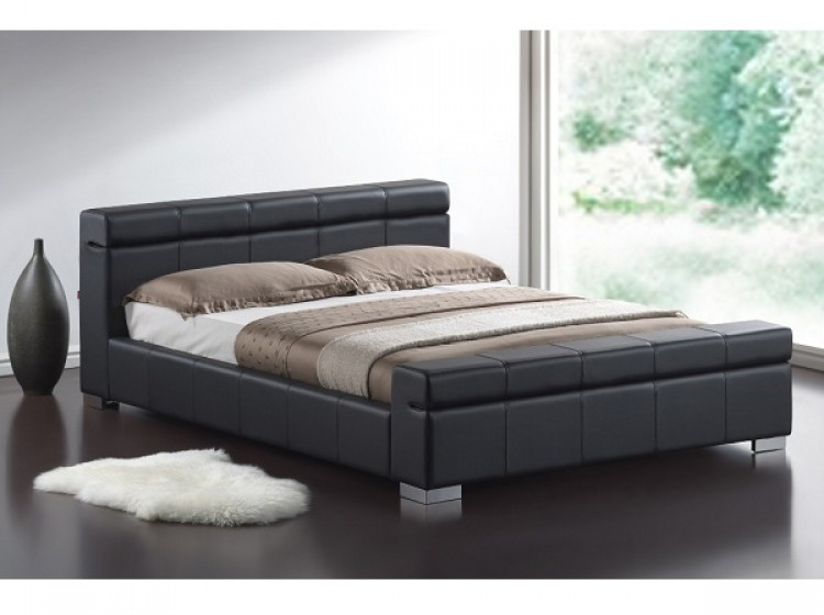 Time Living Durham 4ft6 Double Black Faux Leather Bed Frame By