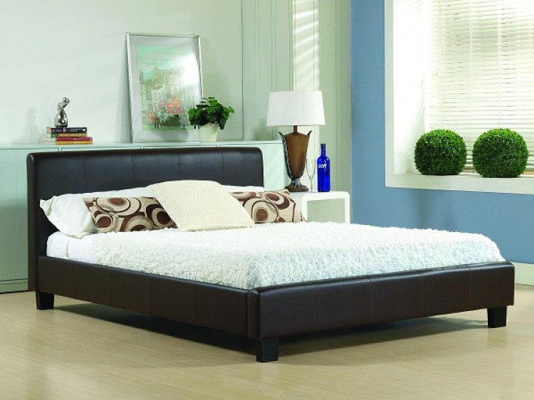 Time Living Hamburg 3ft Single Brown Faux Leather Bed Frame By