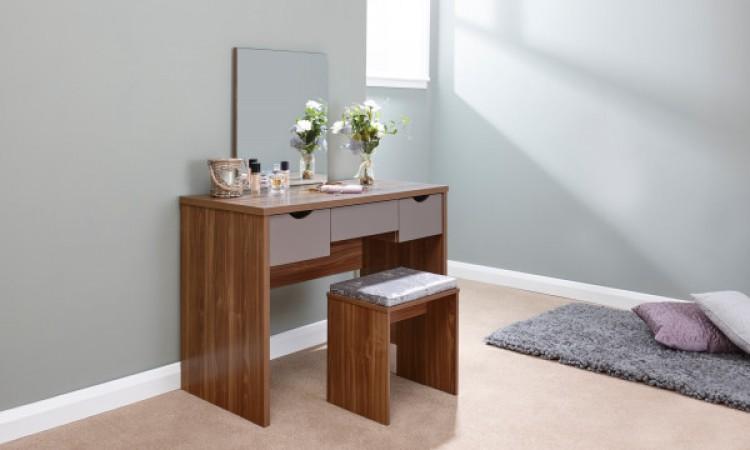 GFW Elizabeth Dressing Table Set In Walnut And Grey by GFW