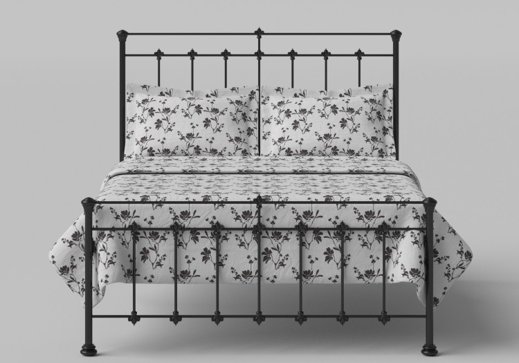 Obc Edwardian 4ft Small Double Satin Black Metal Bed Frame By