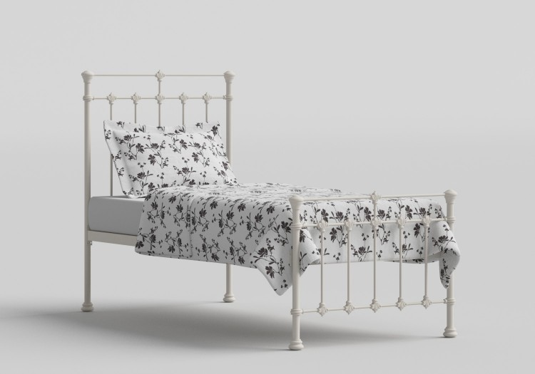 7ff62978c0c7 OBC Edwardian 2ft 6 Small Single Glossy Ivory Metal Bed Frame by Original  Bedstead Company