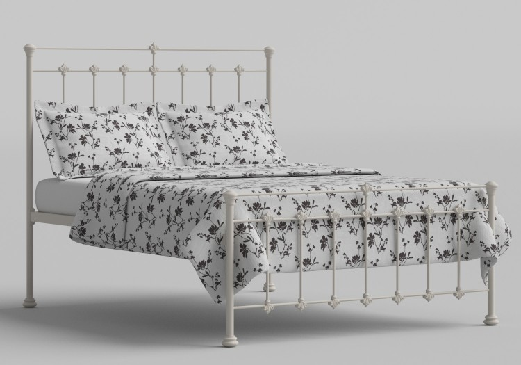 906d450adfa5 OBC Edwardian 4ft Small Double Glossy Ivory Metal Bed Frame by Original  Bedstead Company