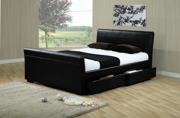 Time Living Houston 4ft6 Double Black Faux Leather Bed With Drawers
